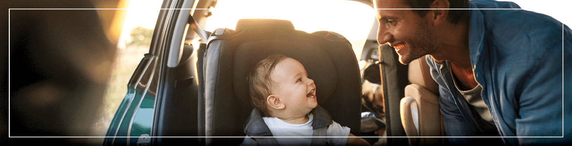 Father with Baby in Car Seat