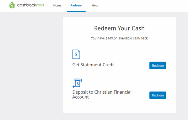 Redeem in CashBack Mall